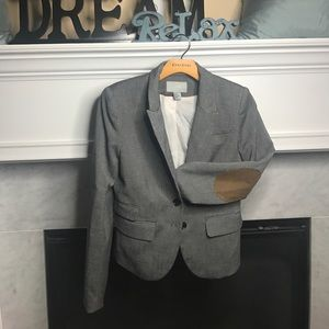 Gray H&M Blazer with Tan Suede Elbows